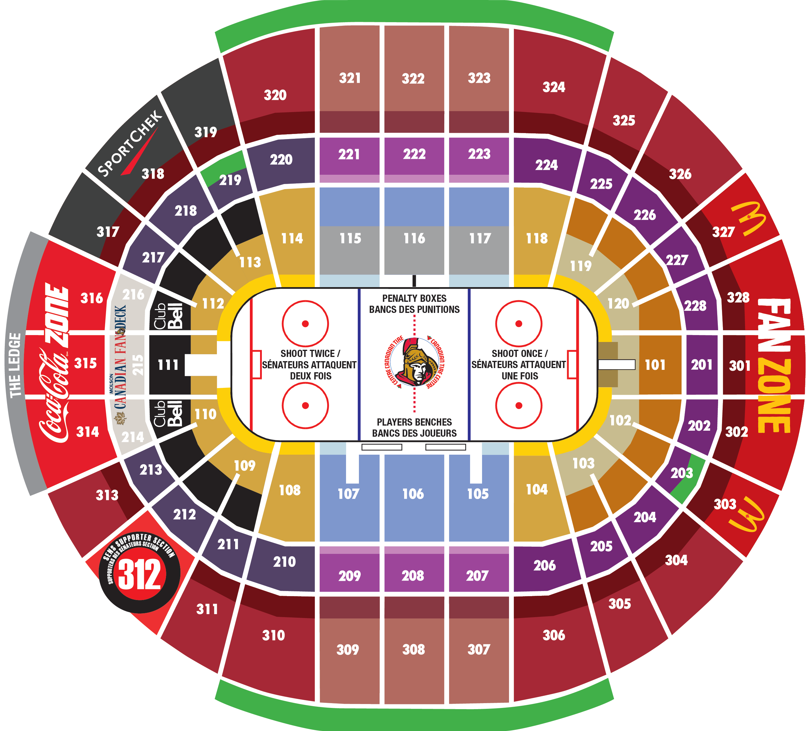 Arena Map Canadian Tire Centre